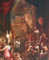 Primera missa a Morella després de la conquesta cristiana. Quadre del segle XVII. Atribuït a Espinosa. Altar Major Arxiprestal