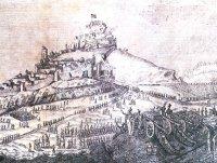 Setge de Morella per les tropes isabel·lines del General Oráa. 17 d'agost de 1838. Gravat de Juan Francisco de Cruella