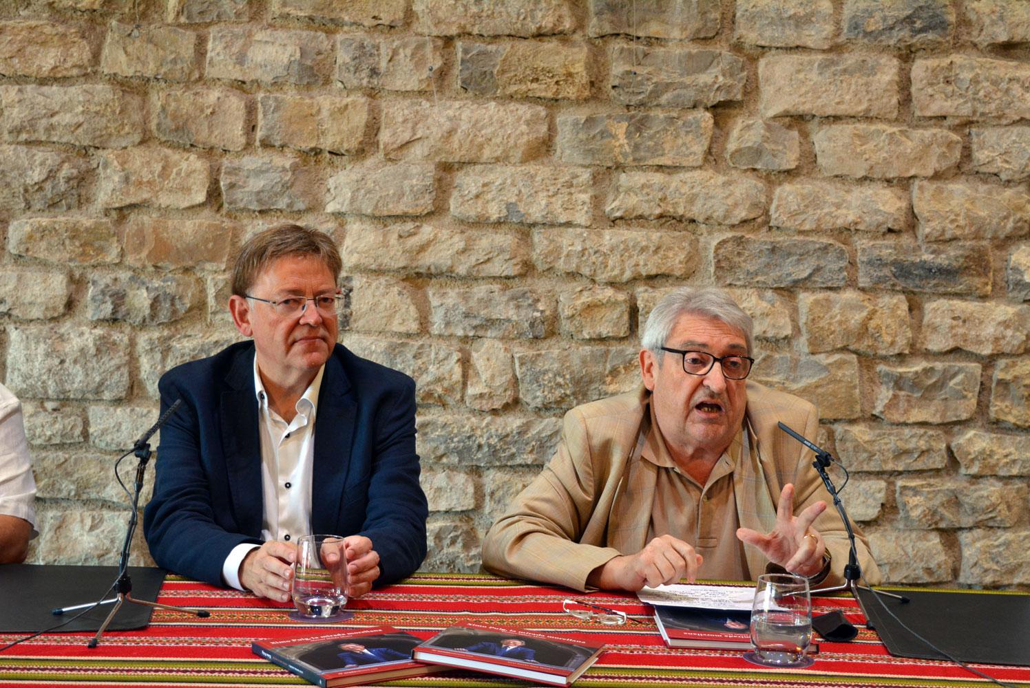 El President de la Generalitat Valenciana, Ximo Puig, i el periodista, Manuel Milián