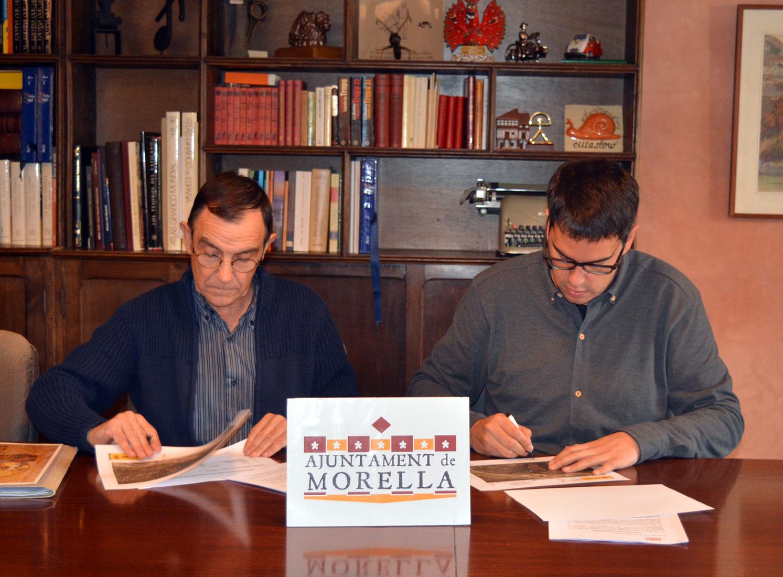 Firma del conveni entre l'ajuntament de Morella i l'Associació Mare de Déu de Vallivana