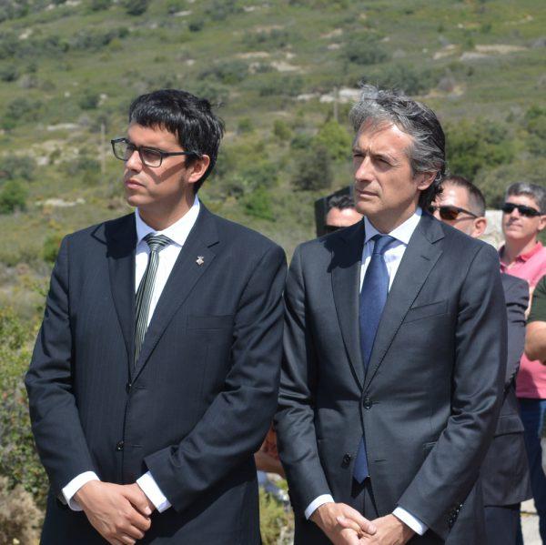 Alcalde de Morella y Ministro de Fomento en el acto de la primera piedra de la N-232