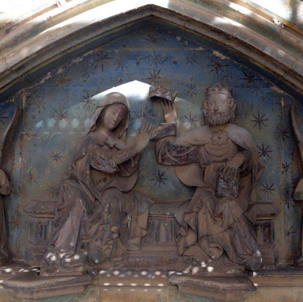 Imatge central de la Porta dels Apòstols de l'Arxiprestal de Morella